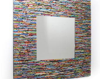 LARGE colorful square mirror, wall art- made from recycled magazines, blue, green, red, purple, pink, yellow, orange, entry way, art, unique
