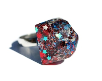 Patriotic Ring 4th of July Jewelry Red White and Blue America Bauble Sparkly Dimensional Art Jewelry