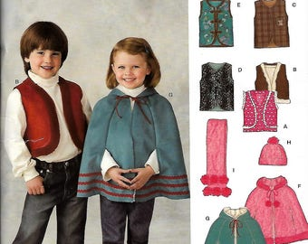 Simplicity New Look Kids 6668 Size 3-8 vest poncho hat and scarf new uncut sewing pattern