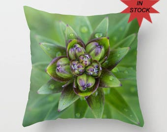 Green Throw Pillow Cover, Floral Bud Print Chair Cushion Case, Spring Home Decor, Master Bedroom Bed Accent, Botanical Art Decor