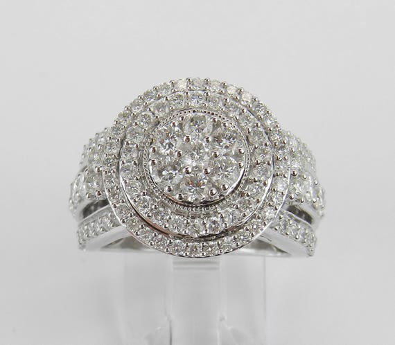 White Gold 2.00 ct Diamond Halo Cluster Engagement Ring Size 7