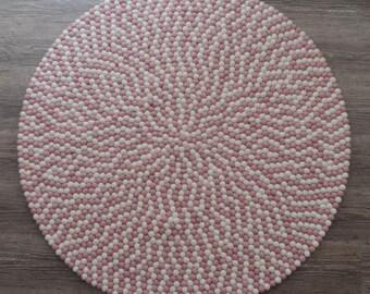 Felt ball rug PWL, Pink shade, felt ball rugs, nursery rugs, kid room felt ball rug, freckle rug