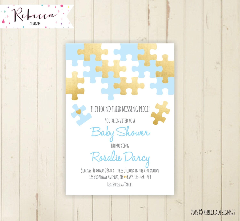 boy baby shower invitation blue baby shower invite coed baby