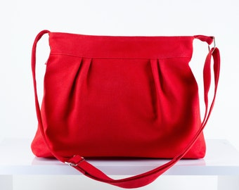Red Purse Small Bag Pleated Bag Washable Bag Zipper Closed Shoulder bag Handmade Gift for Teen Girl Evening Bag DIFFERENT COLOR AVAILABLE