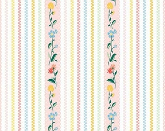 """EXTRA 20 30% OFF Penny Rose Fabrics """"Bunnies and Cream"""" Pink Stripe"""