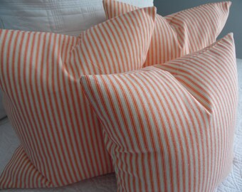 PUMPKIN ORANGE Pillow Covers. Fall Pillow Covers  Black ticking available!Farmhouse Decor. Country Decor.Stripe.Ticking.Halloween