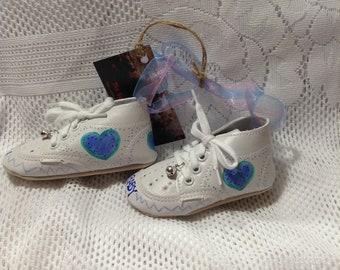 Keepsake Baby Shoes/Baby Boy/Blue Hearts/Baby Shoes/Keepsake/Ornament/Room Decoration/New Baby