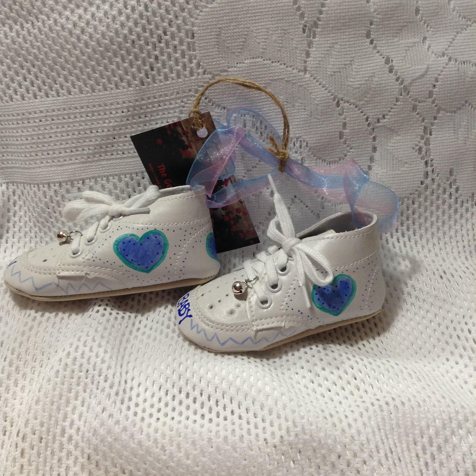Keepsake Baby Shoes Baby Boy Blue Hearts Baby