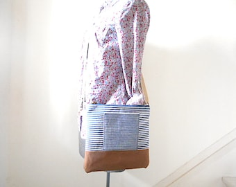 Vtg selvedge indigo stripe denim, canvas crossbody, iPad bag - eco vintage fabrics
