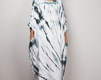 Women's Midi Dress, Kaftan dress, Tie dye Dress, Black and White Dress, Loose fit dress, Summer dress with pockets : Shibori Handmade Dress