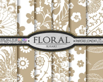 Khaki Floral Paper Pack for Scrapbooking - Digital Patterns - Printable Flower Backdrop - Instant Download
