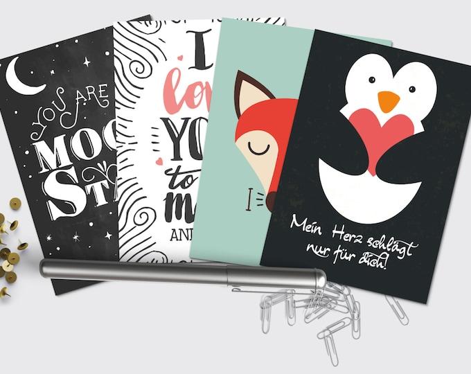 Postcards-set love