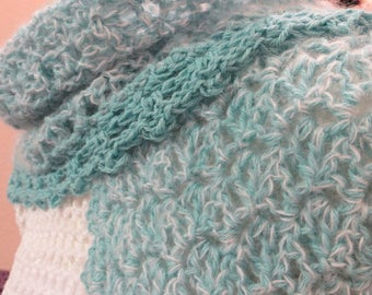 Crochet shawl, mohair and alpaca, turquoise and white