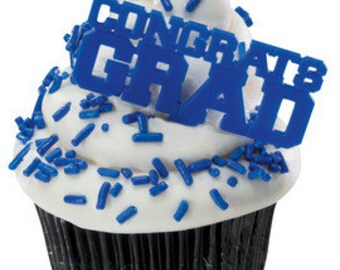 CONGRATS GRAD BLUE Cupcake Picks