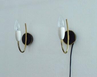 Ensemble de deux Spoutnik murale lampe rockabilly stilnovo du bras un métal des années 50 1950 hollywood Régence midcenury Allemagne élégant en laiton doré