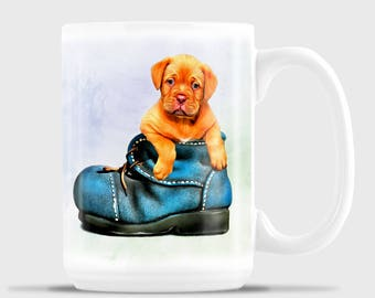 Bordeaux Puppy, Puppy Mug, Puppy in Boot Cute, Funny Coffee Mug, Coffee Mug, Coffee, Dishwasher Safe