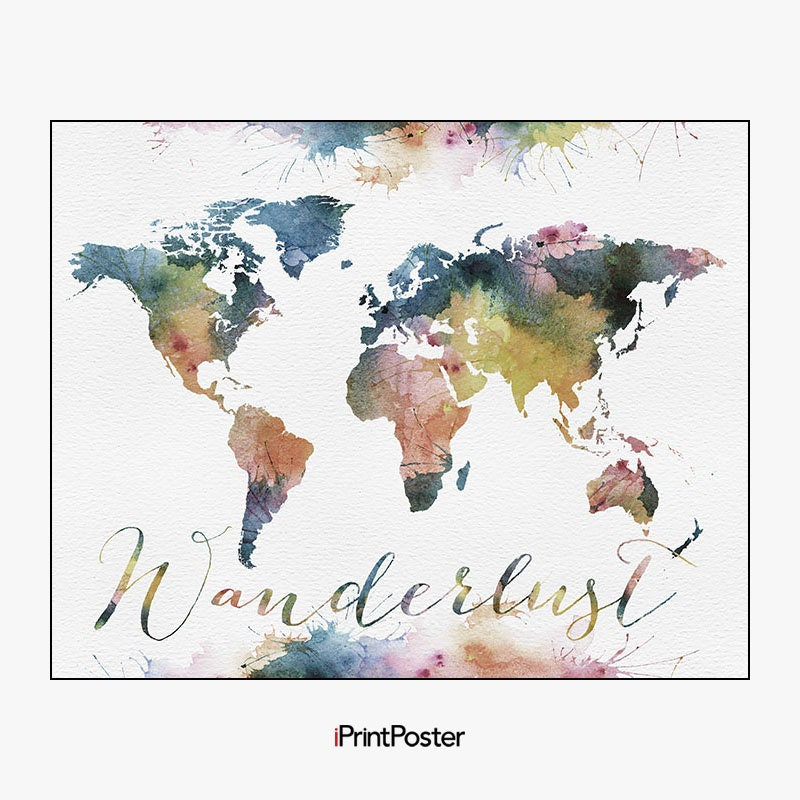 Wanderlust world map poster large world map travel map world map wanderlust world map poster large world map travel map world map wall art home decor gift travel wall decor iprintposter gumiabroncs