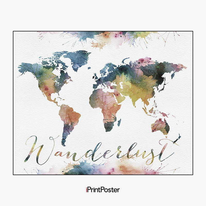 Wanderlust world map poster large world map travel map world map wanderlust world map poster large world map travel map world map wall art home decor gift travel wall decor iprintposter gumiabroncs Gallery