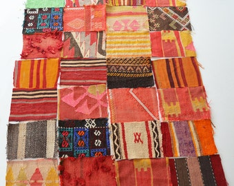 Sukan / Scrap Modern Bohemian Throw Material. Handwoven Wool Vintage Tribal Turkish Kilim (28) Piece Parts
