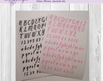 letter vinyl, letter stickers, Alphabet stickers, Numbers , sticker sheet, Small stickers , planner letters, scrapbook, journal letters