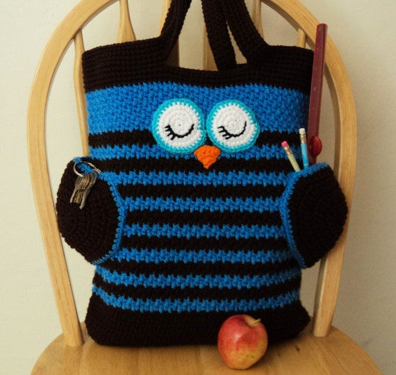 Owl Tote Bag Crochet Pattern Digital Download