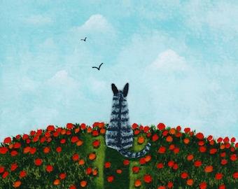 Grey Gray Tiger Tabby Cat Folk Art Print by Todd Young POPPY HILL