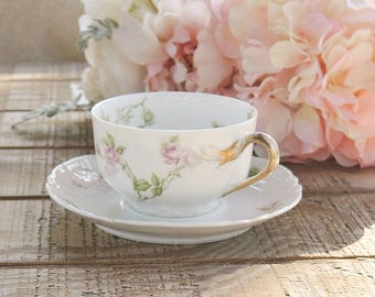 Haviland Limoges Footed Tea Cup and Saucer Set, Cottage Style, French Country, Tea Party, Wedding, Vintage, Antique