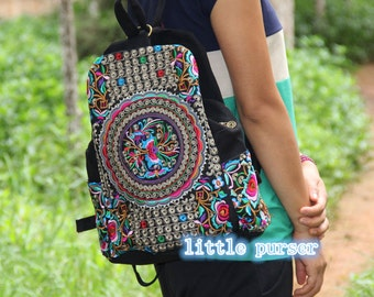 Backpack Canvas/Computer bag / leisure bag backpack Hmong/Tribal style, with vintage embroidered piece, vintage redesign/