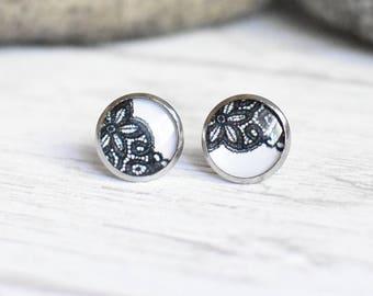 Black Lace Stud Earrings - Delicate Lace Jewelry - Resin Steel Earrings  - Handmade Gift for Her - Surgical Steel Earrings