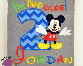 2nd- Twodles -Mickey - Mouse- Club- Inspired- Birthday - oh -Toodles - Shirt -  Embroidery -Personalize- Custom -First- Second -Name- party