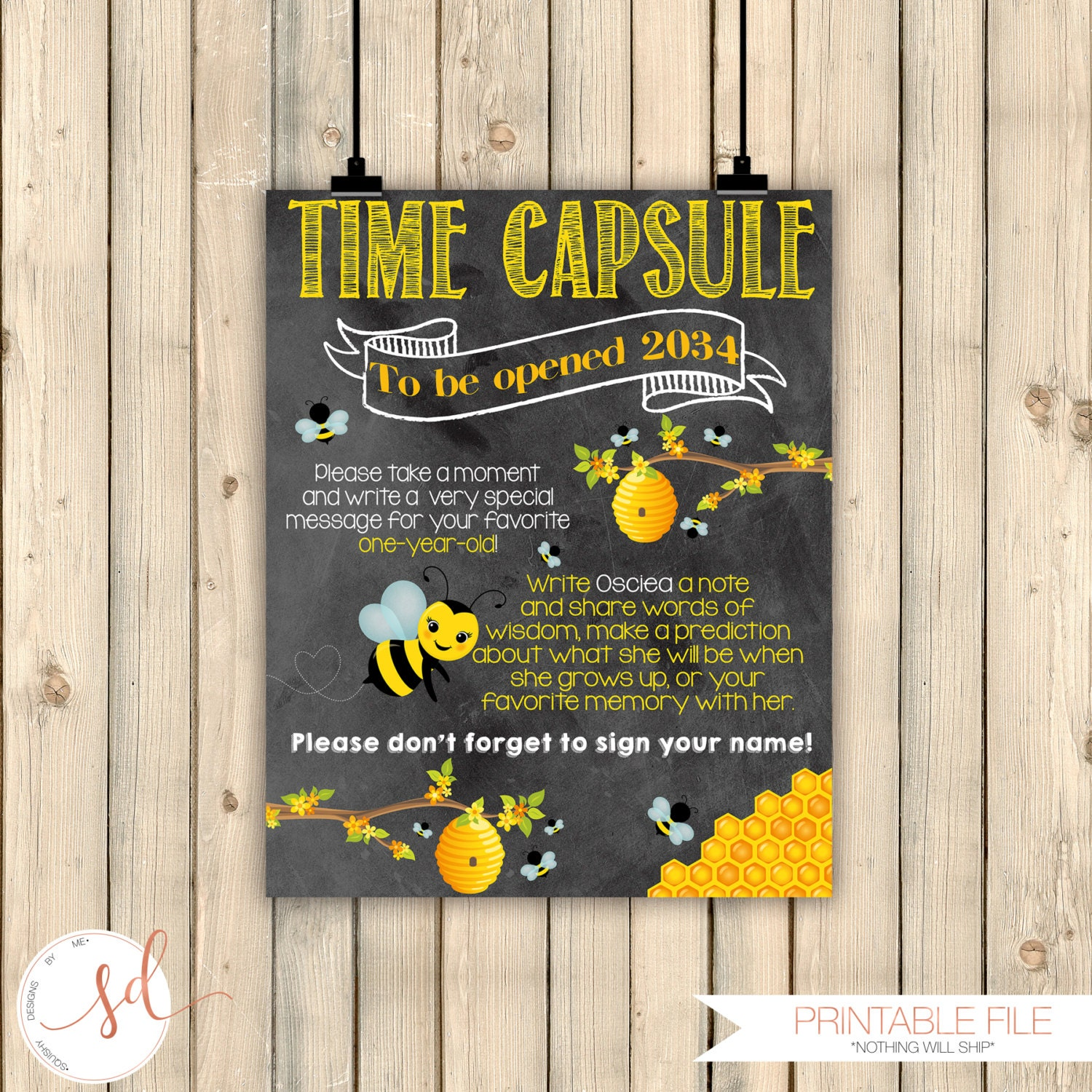 Bumble Bee Birthday Honey Time Capsule Sign First
