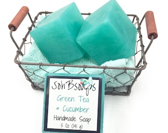 Glycerin Soap Bars Gifts for Her Self Care Gift Gift for Women Green Tea Cucumber Mint Bar Soap Handmade Soap Birthday Gift Bridesmaid Gift