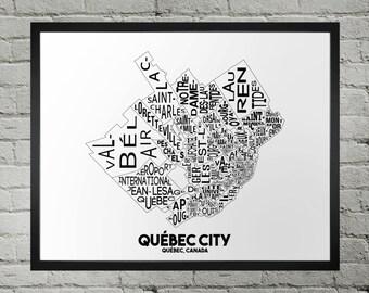 Quebec City Neighbourhood Typography City Map Print