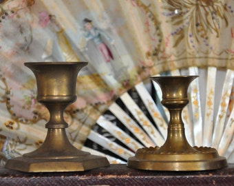 Bougeoir chandelier en laiton Vintage - paire de 2