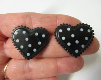 Polka Dot Black Heart Stud Earrings-Heart Earrings-Valentine's Day Stud Earrings