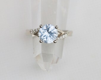 Ice Blue Sapphire Diamond Engagement Ring