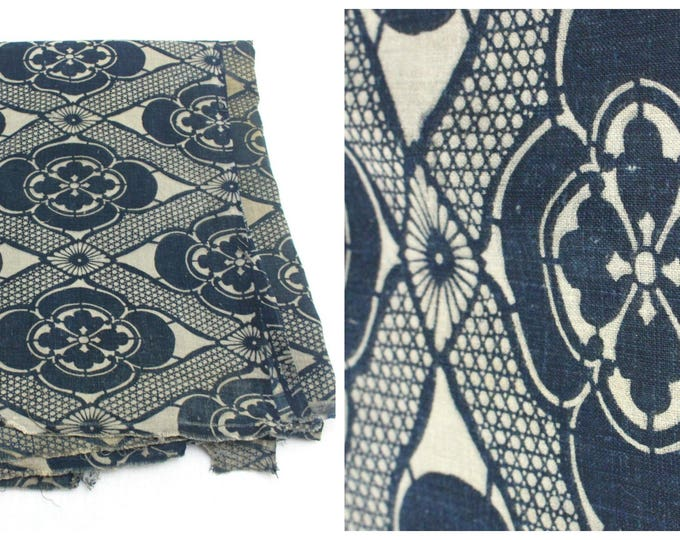Antique Japanese Katazome Textile. Handwoven Cotton. Natural Indigo Stencil Dyed Folk Fabric  (Ref: 1592)