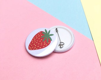 Red Strawberry button badge / summer button pin / 38 mm button badge / bright backpack badge