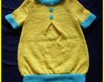 Yellow dress and short-sleeved - 4t turqhoise