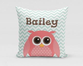 Pink Owl Pillow Cover - Customized Twill Pillowcase - Personalized with Name - COVER only