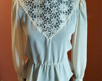 Gorgeous Vintage High Neck Cream Lace Top