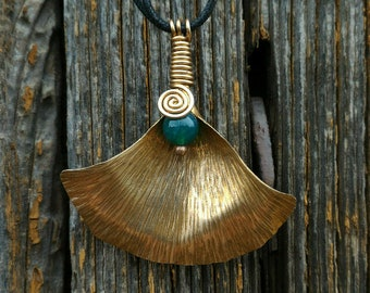 Ginkgo leaf Pendant in brass