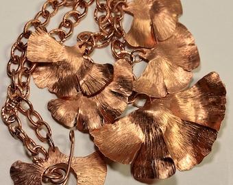 Brushed Copper Ginko Leaf Necklace