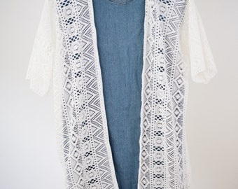 White crochet lace kimono