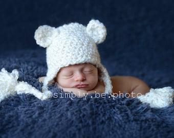 Bear Hat, Ready to Ship, Baby Boy Hat, Baby Girl Hat, Ear Flap Hat, Crochet Baby Hat, Baby Newborn Hat, Newborn Prop, Bear Ear Flap Hat