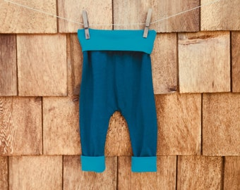 bamboo, harem pants, baby,  toddlers, blue, teal, foldable waistband, long cuffs, grow with me, stretchy,