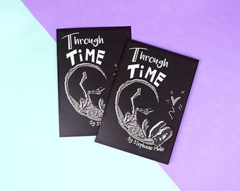 Valentines card  - Art zine - Comic - Through Time - love comic - valentines gift - romantic - comic art - Dinosaur love - romance comic