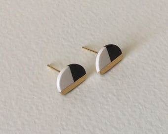 Half circle porcelain stud earrings-black and white, 24k gold filled, geometric earrings, minimalist studs, gift for her