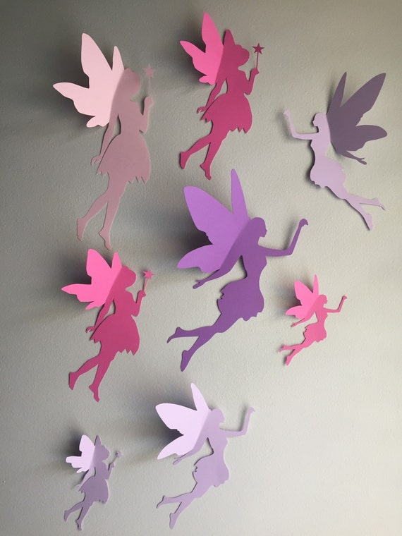8 Paper Fairy Wall Art 3d Fairy Wall Decal Whimsical Room