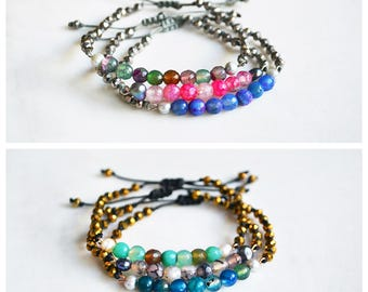 CBC028 - Metal and cord bracelets with agate stones, pearls and crystals in various colors.